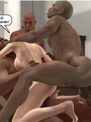 3d white chicks can't stand their strong desire anf let black guys drill their tight holes.